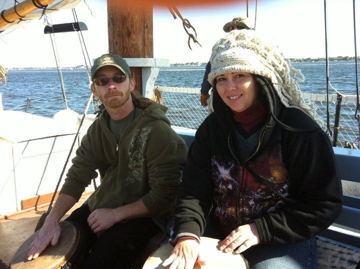 Pat & Mary sailboat drumming in Stuart, FL